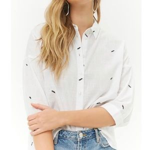 White Button Up with Embroidered Mustache Details